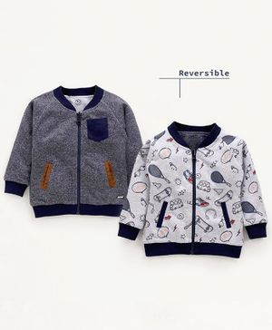 Babyoye Full Sleeves Reversible Cotton Sweatshirt Multi Print - Grey