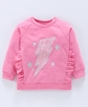 Babyoye Full Sleeves Cotton Sweatshirt Star Embroidered - Light Pink