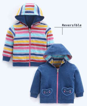 Babyoye Reversible Cotton Hooded Sweat Jacket Heart Patch - Blue
