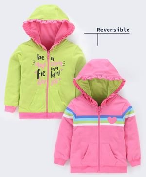 Babyoye Cotton Full Sleeves Hooded Reversible Sweat Jacket - Pink Green