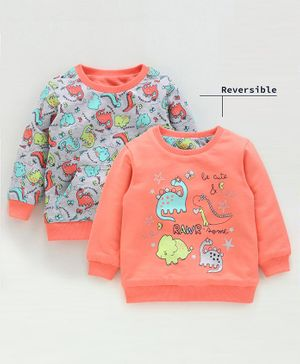 Babyoye Full Sleeves Reversible Sweatshirt Dino Print - Coral