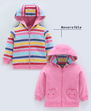 Babyoye Full Sleeves Hooded Reversible Sweat Jacket - Multicolour