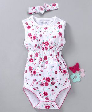 Mom's Love Sleeveless Onesie With Headband Floral Print - White
