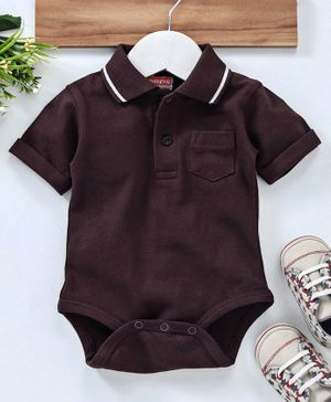 Babyhug Half Sleeves Polo Neck Cotton Onesie - Dark Maroon