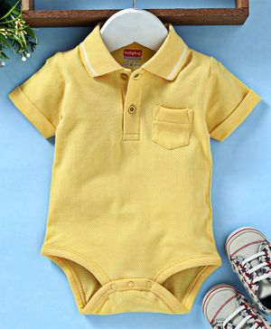 Babyhug Half Sleeves Polo Neck 100% Cotton Onesie - Yellow