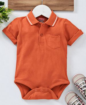 Babyhug Half Sleeves Polo Neck Cotton Onesie - Orange