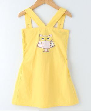 Mish Organic Owl Embroidered Sleeveless Dress - Yellow