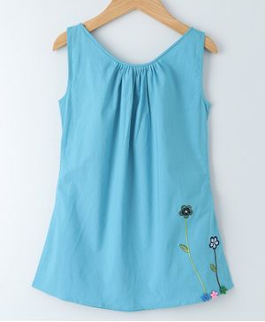 Mish Organic Flower Embroidered Sleeveless Dress - Light Blue
