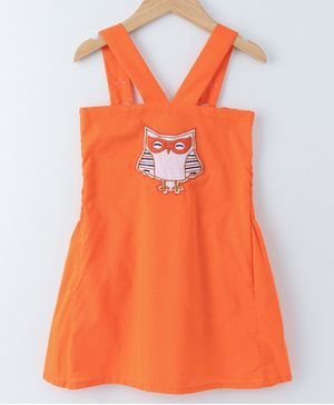 Mish Organic Owl Embroidered Sleeveless Dress - Orange