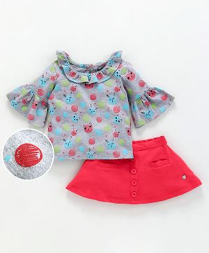 Babyoye Bell Sleeves Cotton Lycra Top And Skirt Kitty Print - Grey Red