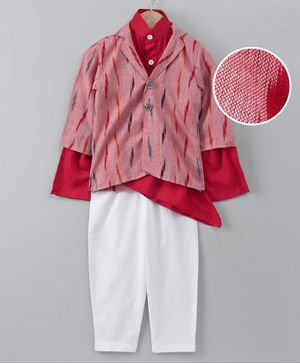 Cute Couture Full Sleeves Asymmetrical Kurta With Ikkat Jacket & Pyjama - Red & White