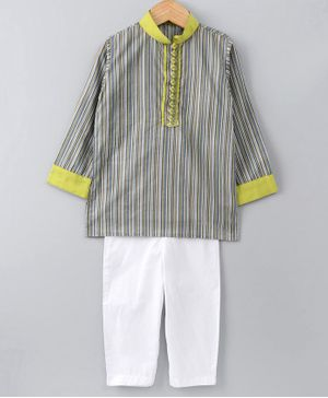 Cute Couture Full Sleeve Multi Stripes Kurta With Pyjama - Green & White