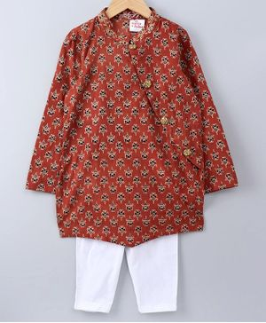 Cute Couture Full Sleeves Booti Printed Kurta With Pyjama - Red & White