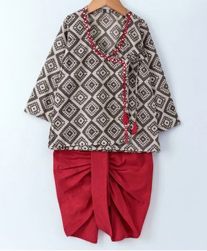 Cute Couture Full Sleeves Angarkha Kurta With Dhoti - Grey & Red