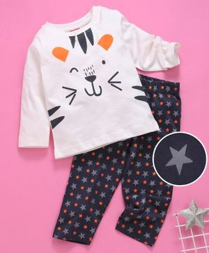 Babyhug Full Sleeves Night Suit Cartoon Print - White Grey