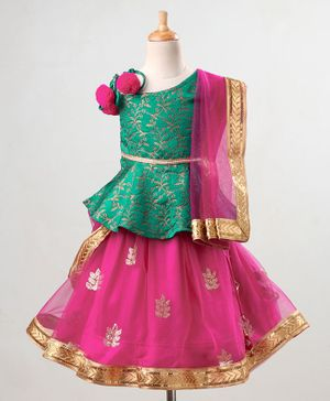 Babyoye Embellished Lehenga & Sleeveless Embroidered Choli Set With Golden border Dupatta - Pink Green