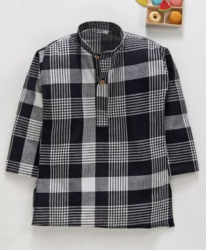 Rikidoos Checked Full Sleeves Kurta - Black