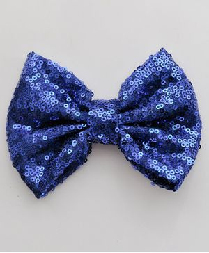 Bobbles & Scallops Sequined Bow Alligator Clip - Blue