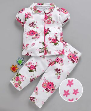 Mom's Love Short Sleeves Night Suit Floral Print - White