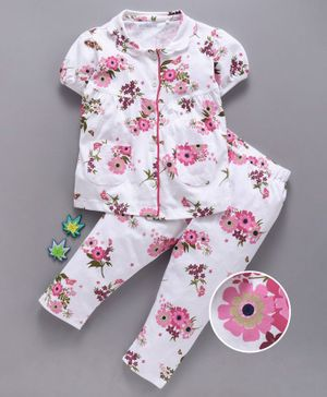 Mom's Love Half Sleeves Night Suit Floral Print - White Pink