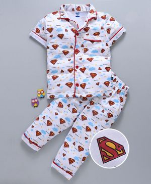 Mom's Love Half Sleeves Night Suit Superman Logo Print - White