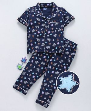 Mom's Love Half Sleeves Night Suit Tom & Jerry Print - Navy blue