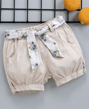 Reike Trees Elasticated Waist Shorts With Floral Belt - Cream