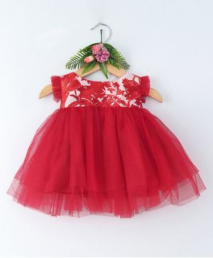 Many Frocks & Sleeveless Flower Print Fit & Flare Dress - Red