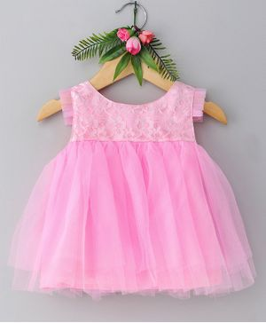 Many Frocks & Sleeveless Floral Lace Yoke Fit & Flare Dress - Pink
