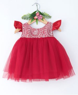 Many Frocks & Cap Sleeves Flower Lace Work Dress - Maroon