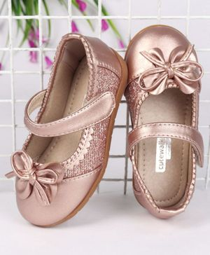 Cute Walk by Babyhug Party Wear Belly Shoes Bow Applique - Peach