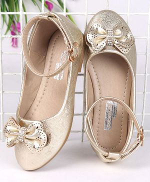 Cute Walk by Babyhug Party Wear Belly Shoes Studded Bow - Golden