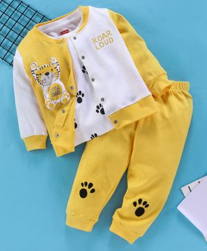 Babyhug Full Sleeves Shirt And Half Sleeves Tee And Lounge Pant Little Tiger Print - Yellow White