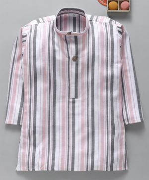Rikidoos Full Sleeves Striped Kurta - Pink
