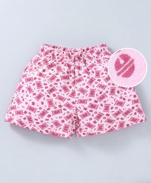 Red Ring Multi Printed Shorts - Pink