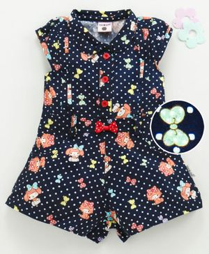 U R Cute Cap Sleeves Polka Dot & Doll Print Jumpsuit - Navy Blue