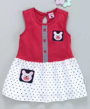 U R Cute Sleeveless Polka Dot Print Bunny Patch Dress - Red