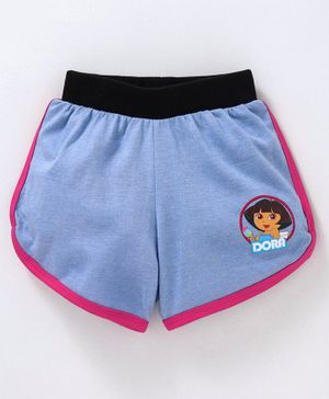Red Ring Shorts Dora Print - Sky Blue