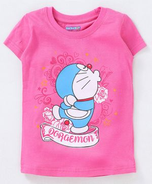 Red Ring Half Sleeves Tee Doraemon Print - Pink