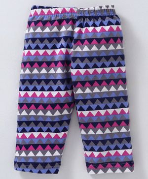 Red Ring Full Length Chevron Printed Leggings - Purple Blue