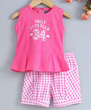 Enfance Sleeveless Top & Checked Shorts Set - Pink