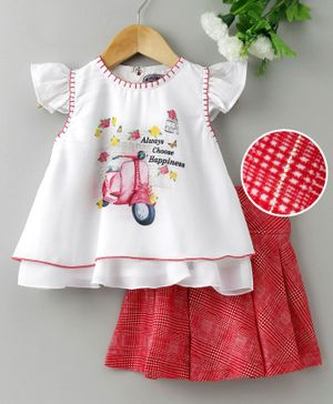 Enfance Cap Sleeves Scooter Print Top With Checked Skirt - White & Red