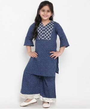Bitiya By Bhama Three Fourth Sleeves Printed Kurta & Pallazo Set - Blue