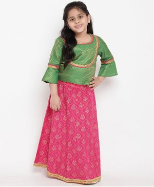 Bitiya By Bhama Three Fourth Sleeves Brocade Choli & Lehenga - Green