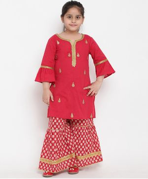 Bitiya By Bhama Three Fourth Sleeves Embroidery Kurta & Pallazo Set - Red
