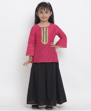 Bitiya By Bhama Three Fourth Sleeves Kurta With Lehenga - Pink