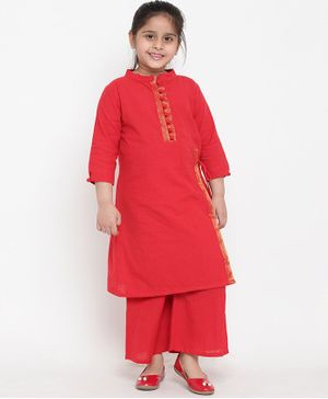 Bitiya By Bhama Three Fourth Sleeves Kurta & Pallazo Set With Gold Zari Patti - Red
