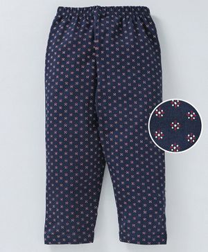 Red Ring Full Length Printed Leggings - Navy Blue