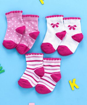 Cute Walk by Babyhug Ankle Length Anti Bacterial Non Terry Socks Pack of 3 - White Pink