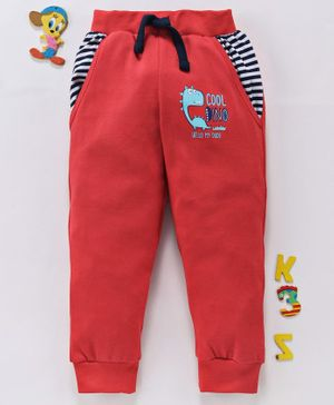 Babyhug Full Length Track Pant With Drawstring Dino Print - Red